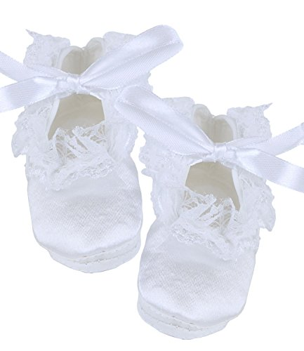 BabyPrem Baby Girls Christening Shoes Bootees Satin Clothes Newborn - 3 Months LACE from BabyPrem