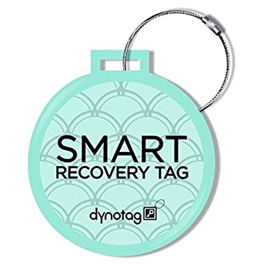 Dynotag® Web/GPS Enabled QR Smart Deluxe Steel Luggage Tag & Braided Steel Loop (Turquoise)