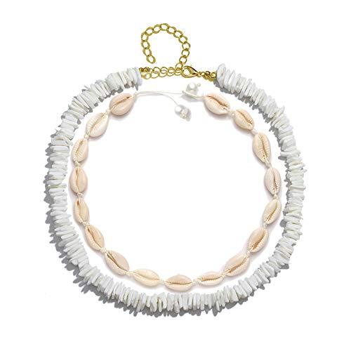 Shell Puka White - VUJANTIRY Shell Choker Necklace for Women Hawaiian Seashell Pearls Choker Necklace Statement Adjustable Puka Shell Necklace Set (Shell&Pearls Choker #4)