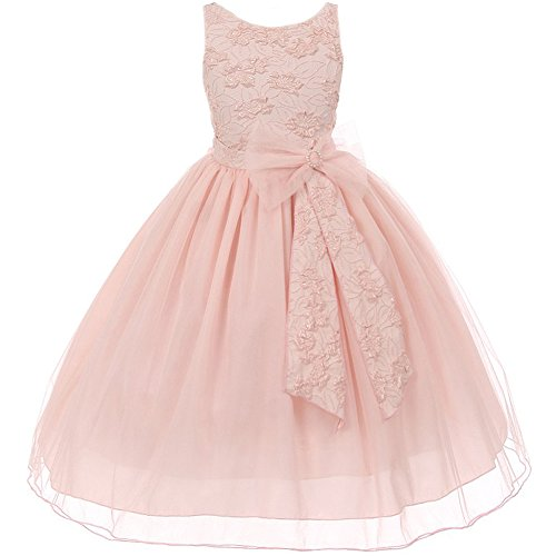 Little Girls Sleeveless Raised Floral Textured Bodice Big Bow Tulle Flower Girl Dress Blush Pink – Size 6