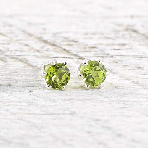 (Genuine Peridot Gemstone Stud Earrings 4mm Sterling Silver August Birthstone Gift For Women)