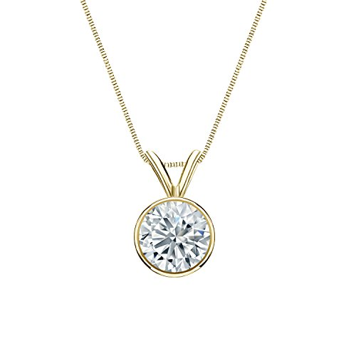Diamond Wish 14k Yellow Gold Round Lab Grown Diamond Solitaire Pendant Necklace (3/4cttw, H-I, VS1-VS2) Bezel Set, 18-inch box chain