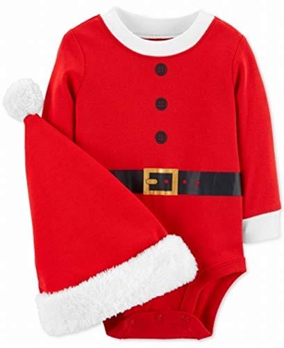 Carter's Unisex Baby 2-Piece Christmas Bodysuit & Hat Set (Newborn, Red Santa)]()