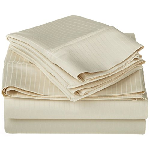 100% Egyptian Cotton 1000 Thread Count Oversized King Sheet Set Stripe, Ivory from Superior