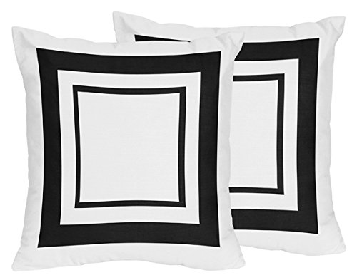 Sweet Jojo Designs 2-Piece Contemporary White and Black Modern Hotel Decorative Accent Throw Pillows by Sweet Jojo Designs