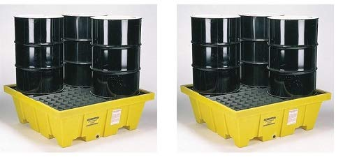 Eagle 1640 4 Drum Containment Spill Pallet, 8000 lbs Capacity, 52-51/128'' Length x 51-1/2'' Width x 13-3/4'' Height (2-(Pack))