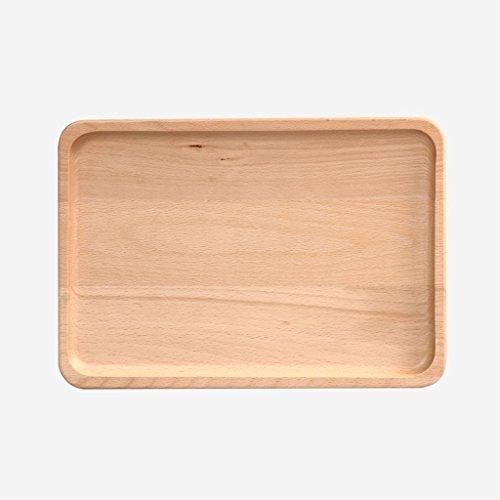 HLJ Creative Fashion Beech Wood Tray Retro Solid Wood Fruit Tray Tea Tray Home Candy Dish