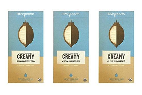 Loving Earth, Organic Bean to Bar, CREAMY, Coconut Mylk Chocolate with Raw Ashaninka Cacao, 2.5 oz, Pack of 3