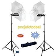 SHOPEE NU1500 Pair of 9ft Porta Umbrella Lights for Still and Video Photography with 5 x 1000 Watt Halogen Tubes