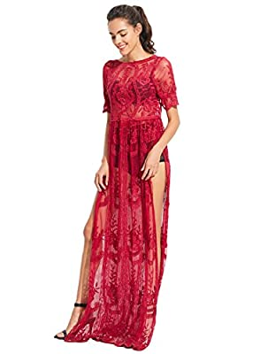 ACHICGIRL Women's Deep V Neck Short Sleeve High Waist Lace Prom Dress