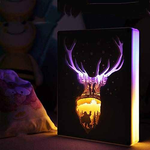 EFGS Paper-Cut Light Box, Remote Control 3D Paper Carving Light Three-Dimensional Creativity Shadow Night Lights Romantic Atmosphere Halloween Christmas -