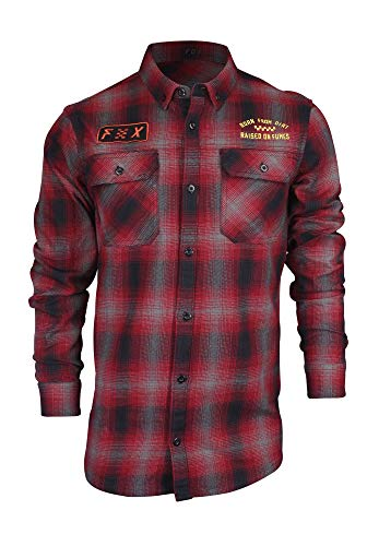 Fox Men's Gorman Overshirt, Dark Red, XXL
