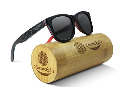 Hammockable Handmade Natural Wood Polarized Sunglasses that Float! (Black Maple - Puzzle, Dark - Skateboard Glasses