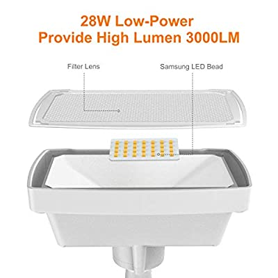 LEPOWER Dusk to Dawn LED Security Light Outdoor, 28W 3000LM LED Flood Light Outdoor, Full Metal, 3000K, IP65 Waterproof 2 Heads for Entryways, Stairs, Yard and Garage(Warm Light)