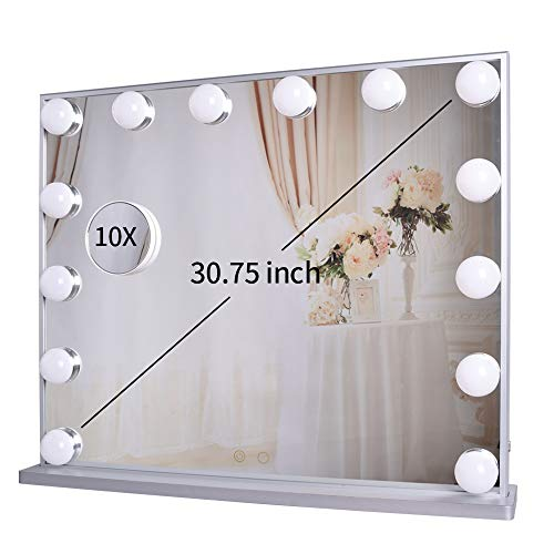 Meetop Hollywood Vanity Mirror with Lights,Lighted Makeup Dressing Tabletop or Wall Mounted Beauty Mirrors with Dimmer,14pcs Led Bulbs and Detachable 10X Magnification Spot Cosmetic Mirror Included