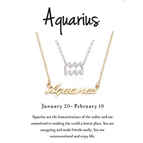 Gold Aquarius Zodiac Charm - Cyberny Best Friend Zodiac Aquarius Necklace for 2 Gold & Silver