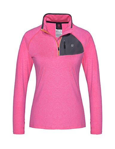 Little Donkey Andy Women's Half Zip Stand-Collar Long Sleeve Running Top Rose Heather S ()
