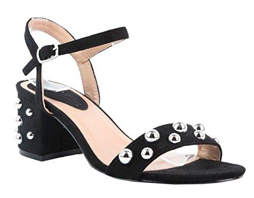 Damen SHU P17 Open CRAZY Schuhe Sommer Faux Sandalen Strap beschlagene Knöchelschnalle Damen Schwarz Wildleder Toe HOHrUaF