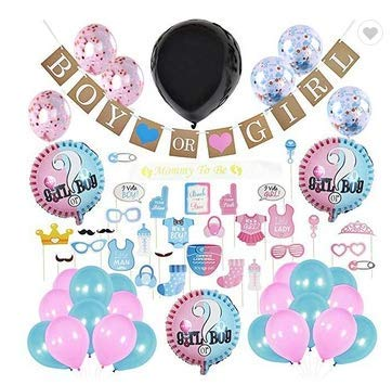 Baby Nest Designs Gender Reveal Party Supplies - (103 Pieces) With The Original Gender Reveal Balloon, Boy or Girl Banner Decorations, Foil and Confetti Balloons, Photo Props, Cupcake Toppers, Sticker
