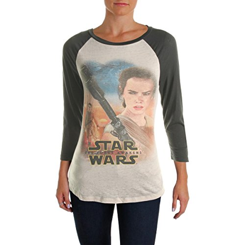 [Star Wars Womens Juniors Pullover Casual Baseball Tee Gray M] (Cheap Star Wars Shirts)