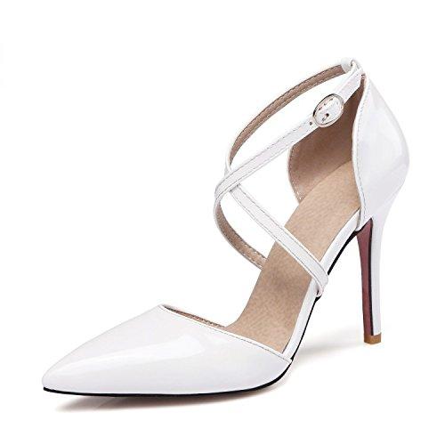 ZHZNVX Nuevo sandalias sexy hebilla cruzada sandalias paquete de color rosa amarillo negro con zapatos de charol White