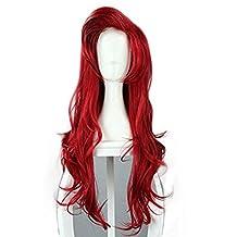 Dearlamp ® 70cm/27.55 Inch Long Dark Red Little Mermaid Ariel Wavy Cosplay Wig