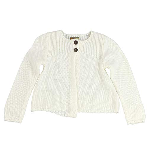 MARIA ELENA - Infant and Toddlers Knitted Cassadee-Love Garter Stitch Cardigan (Soft Ivory, ()