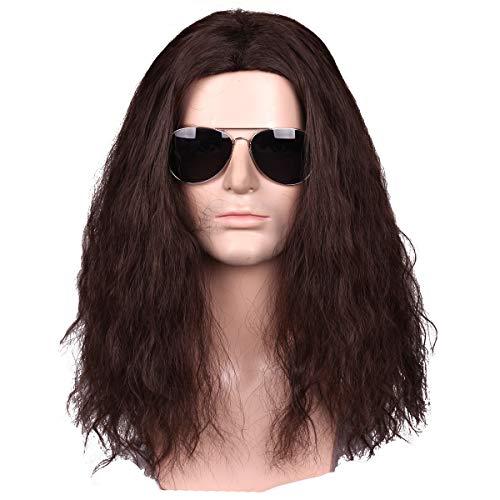 Fantalook Men Long Brown Wavy Curly Halloween Cosplay Wig ()