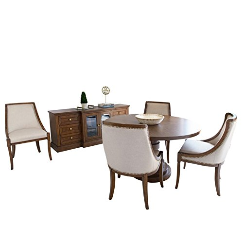 Abbyson Living Harper Round 6 Piece Dining Set in Acacia Brown