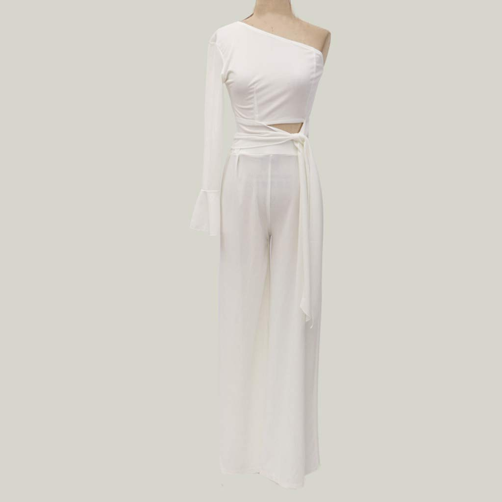 Letdown_Summer tops Women One Shoulder Top Casual Boho Long Wide Leg Two-Piece Formal for Party Outfit White by Letdown_Summer tops (Image #3)