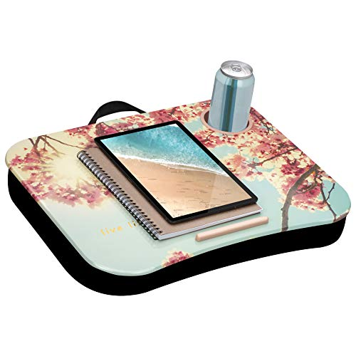 LapGear Cup Holder Lap Desk with Device Ledge - Full Bloom - Fits up to 15.6 Inch Laptops - Style No. 46301