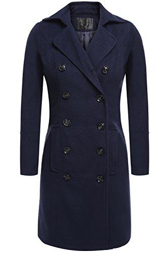 Jingjing1 Women's Slim Wool Blend Turn-Down Collar Long Trench Coat Jacket Outerwear (L, (Chic Wool Coat)