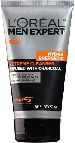 L'Oreal Paris Skincare Men Expert Hydra Energetic Facial Cleanser with Charcoal for Daily Face Washing 5 fl. oz.