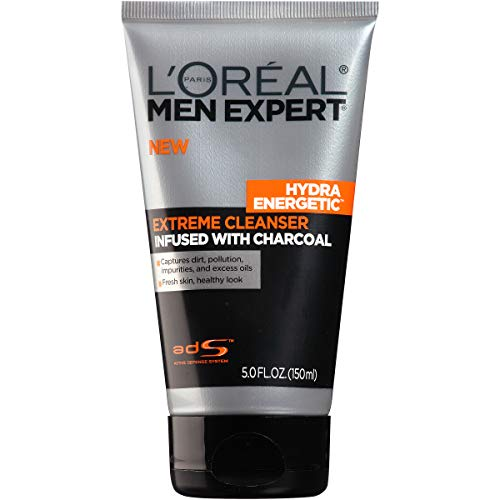 L'Oreal Paris Skincare Men Expert Hydra Energetic Facial Cleanser with Charcoal for Daily Face Washing 5 fl. oz. (Best Face Cleaner For Men)
