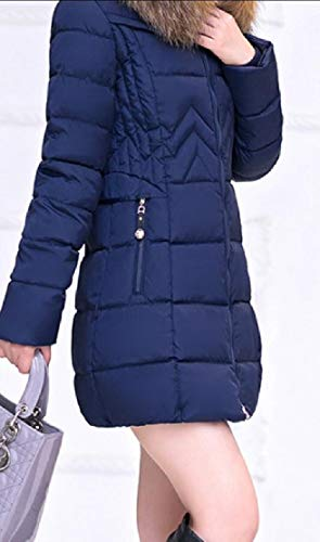 Coat Jacket Puffer Parka Down Women's Hooded Dark Overcoats EKU Long Blue Outwear 6q7wHTF