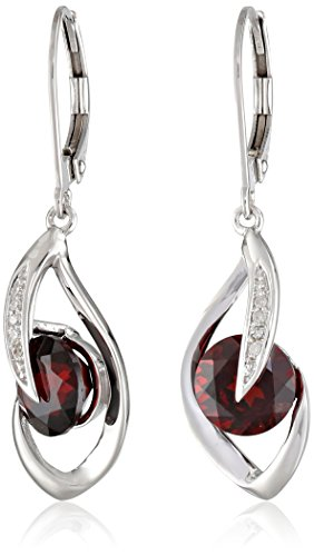 10k White Gold Garnet and Diamond Accent Flame Drop Earrings