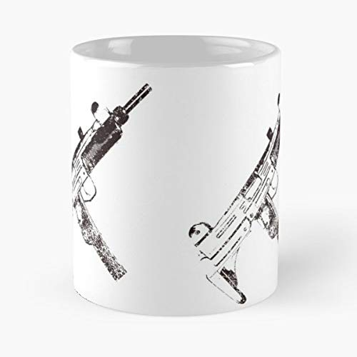 Uzi 9mm Submachine Gun Machine Pistol Distressed Design - Morning Coffee Mug Ceramic Novelty Holiday ()