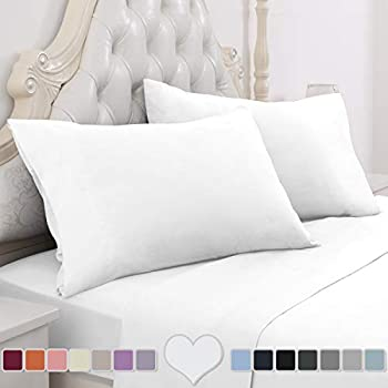 HOMEIDEAS 4 Piece Bed Sheet Set (Queen, White) 100% Brushed Microfiber 1800 Bedding Sheets - Deep Pockets, Wrinkle & Fade Resistant