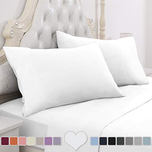 (HOMEIDEAS 4 Piece Bed Sheet Set (Full, White) 100% Brushed Microfiber 1800 Bedding Sheets - Deep Pockets, Hypoallergenic, Wrinkle & Fade Resistant)