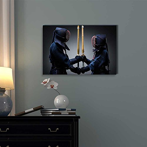 Two Kendo Fighters with Shinai Opposite Each Other Wall Decor