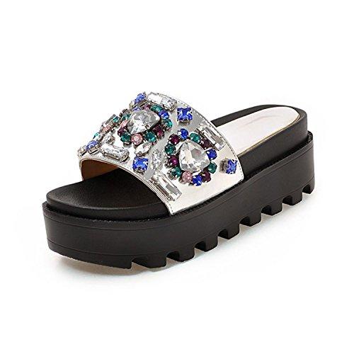 Black slippers Toe vovmi Platform Woman Shoes 4 Thick Open Black Flat Shoes Woman 7dwRqp
