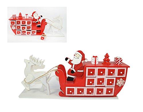 Calendario dell'Avvento in legno a forma di Slitta di Babbo Natale 2Esse