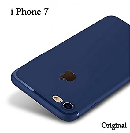 finest selection 78e8d a0fc0 M7 iPhone 7 Soft Silicone Slim Logo Cut Cover Case | Very Soft | Mud Guard  | Feather Touch Button Highlights for- iPhone 7 (Blue)