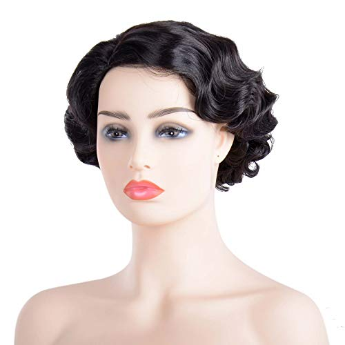 1920s Vintage Wigs Short Curly Hair Wave Ripple Bangs Old Shanghai Style Cosplay Accessories -