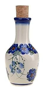 Classic Boleslawiec, Polish Pottery Hand Painted Ceramic Olive Oil or Vinegar Bottle 125ml 513-U-001
