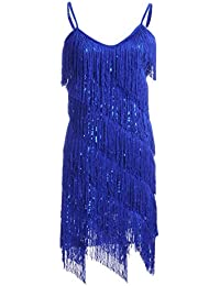 Womens Fringe Sequin Strap Backless 1920s Flapper Party Mini Dress