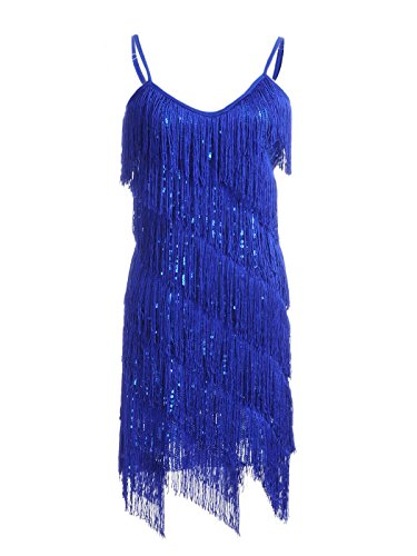 Anna-Kaci Womens Fringe Sequin Strap Backless 1920s Flapper Party Mini Dress,Blue,Large
