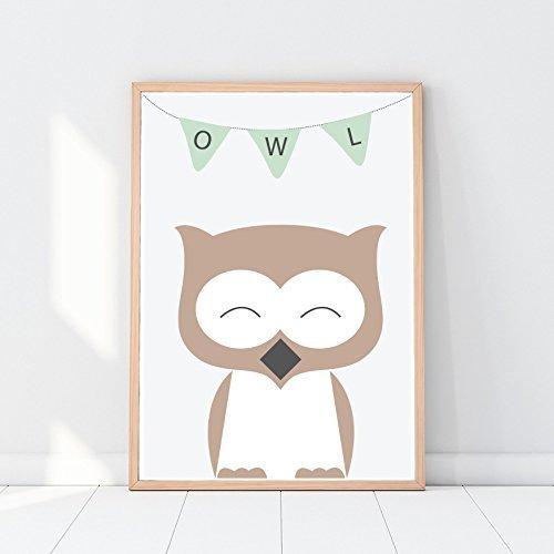 woodland animals nursery print owl print baby animals print