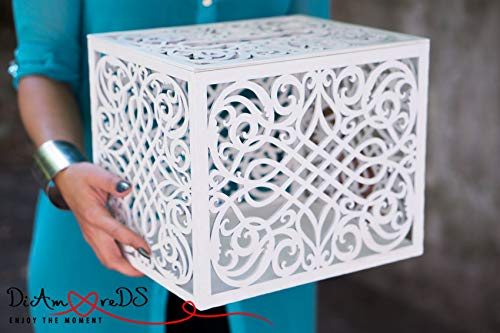 Rustic Wooden Card Box with Capacity of 300-500 Cards Box With Card Slot Love Story Keepsake Box White Wedding Card Holder Wedding Money Box Wedding Idea Letter Box -