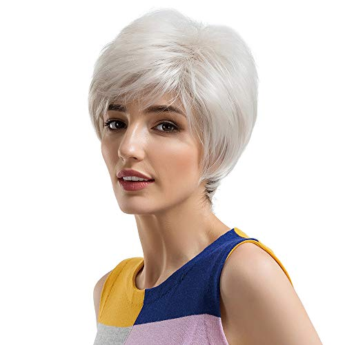 Weiweidain Black Gradient Beige/Silver Short Hair Women's Fashion Synthetic -